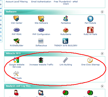 Your new Attracta SEO Tools are located in your cPanel.