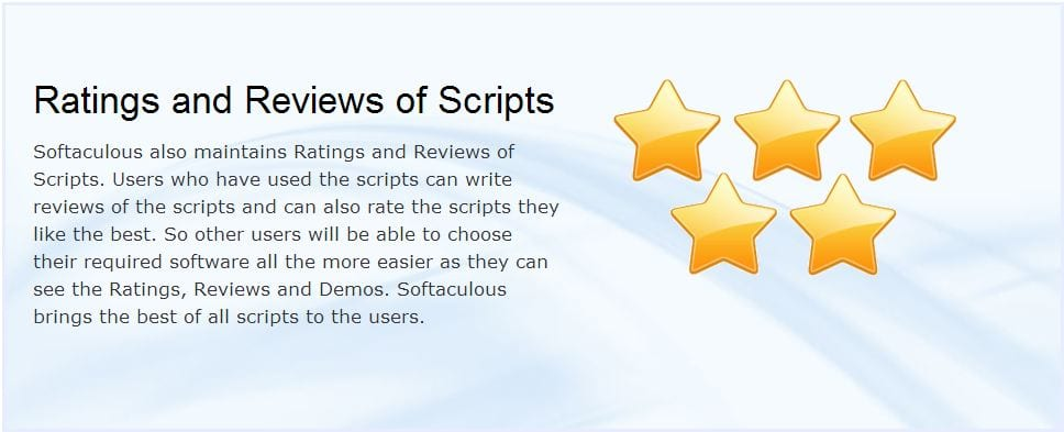 Softaculous has ratings and reviews of each program to help in selection of the right product for you
