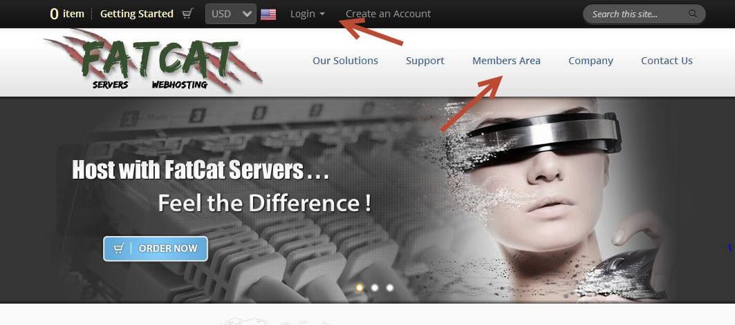 FatCat Servers Web Hosting - Members Area Login Links